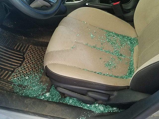 Car window shot out (Source: Pam Tatham)