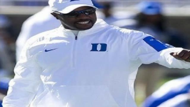 Duke University football coach announces scholarship, book signing, at Woodruff High School. (Courtesy: Duke University)