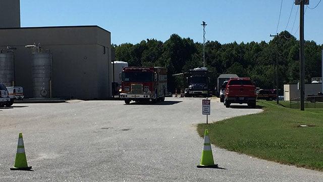 Firefighters outside Honeywell Aerospace (July 31, 2017/FOX Carolina)