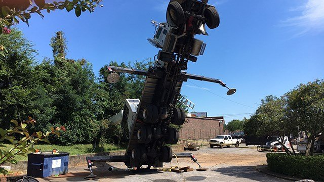 Fallen crane on E Sharpe Street in Anderson. (7/31/17)