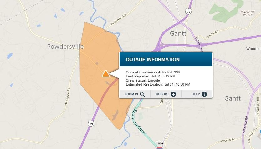 Power outage in Powdersville. (Source: Duke Energy Outage Map)