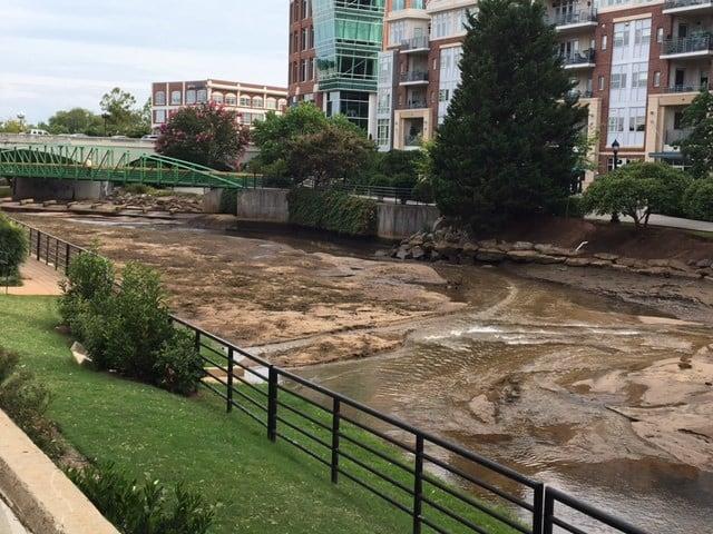 Water drained behind Peace Center (Aug. 3, 2017/FOX Carolina)