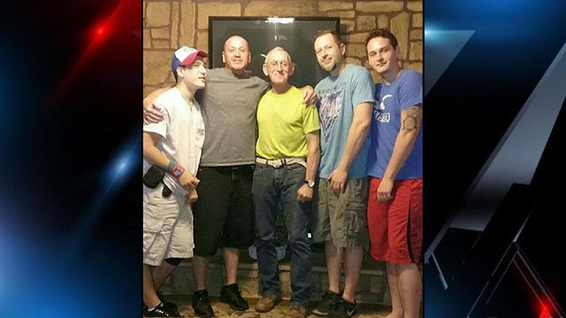 Calvin Burgess (center) pictured with sons Scotty Burgess and Brian Burgess (directly on either side of him), grandson Bradley Burgess (in hat on far left) and grandson Chris Burgess (pictured far right) (Source: Family)