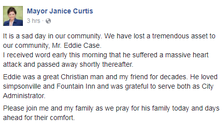 Simpsonville Mayor Janice Curtis issued a statement on the passing of Eddie Case. (August 6, 2017/Facebook)