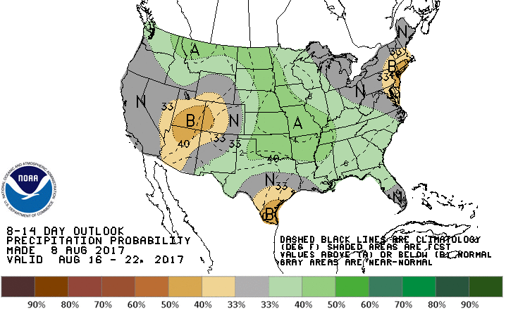 CPC outlook for 8-14 day rainfall