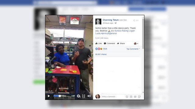 Channing Tatum dances with cashier at NC gas station