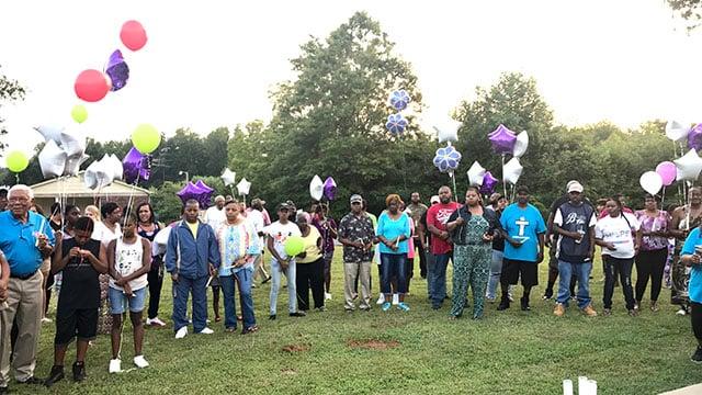 Loved ones attend vigil in honor of Jasmin McGill. (FOX Carolina/ 8/9/17)