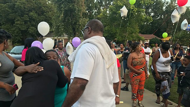 Loved ones attend vigil in honor of Jasmin McGill. (FOX Carolina/ 8/9/17)