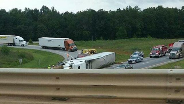 Overturned tractor-trailer (Source: Mickey Goodine)
