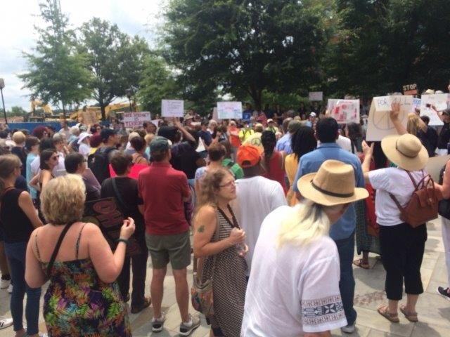 """Stand Against White Supremacy"" rally in Greenville. (8/13/17 FOX Carolina)"