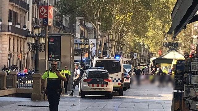 Authorities on scene of crash in Barcelona (Source: CNN)