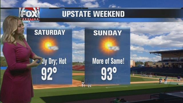 Mostly dry, hot weekend forecast
