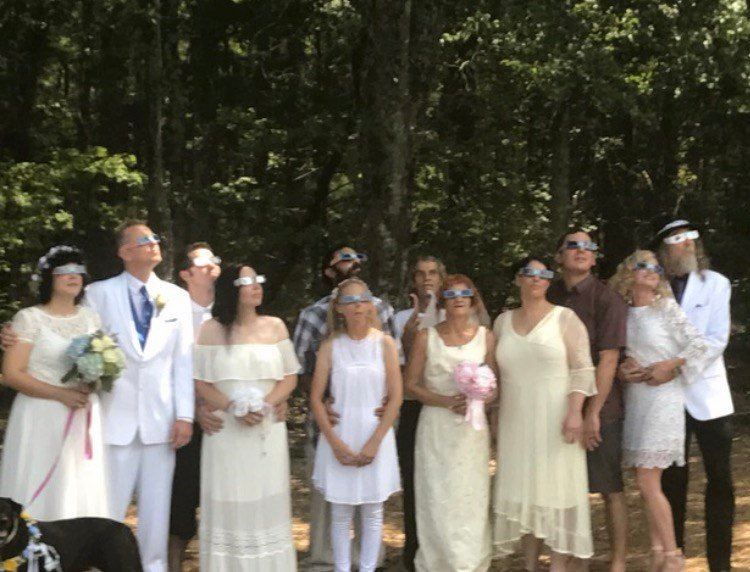 Six couples get married during out-of-sight eclipse ceremony. (FOX Carolina/ August 21, 2017)