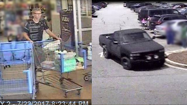 Surveillance images of the suspect and his vehicle (Source: Simpsonville PD)