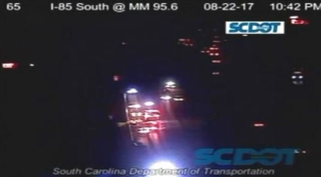 Scene of collision on I-85 S in Gaffney. (Source: SCDOT)