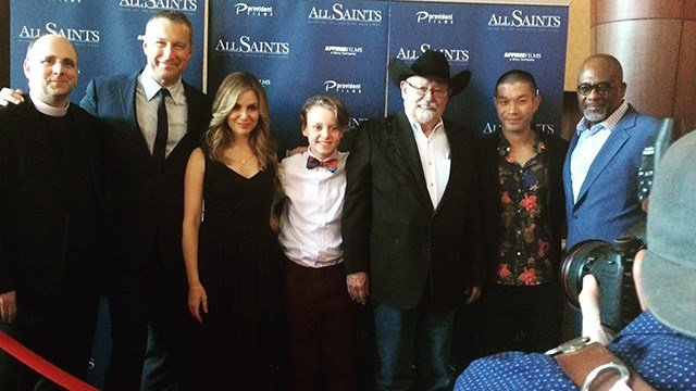 Left to right: Father Michael Spurlock, John Corbett, Cara Buono, Myles, Barry Corbin, Nelson Lee, and Gregory Alan Williams at the premiere in Smyrna, TN (Source: Maggie Moore)