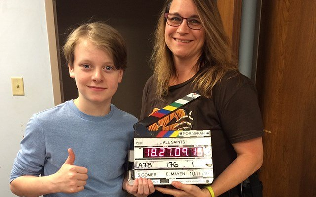 Myles and camera operator Tracy Facelli on set on his last day of filming (Source: Maggie Moore)