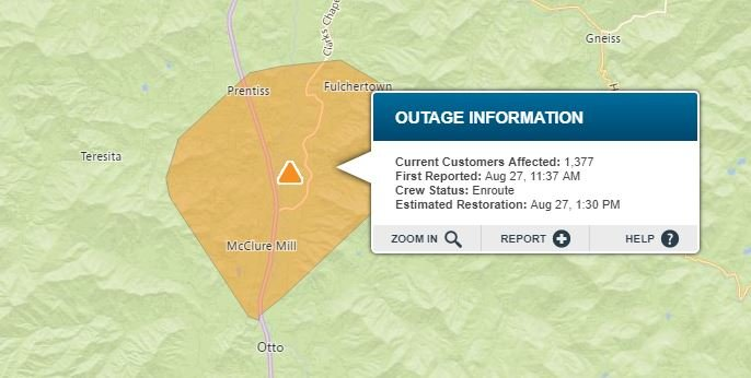 Outage in Macon Co. (Source: Duke Energy Outage Map)