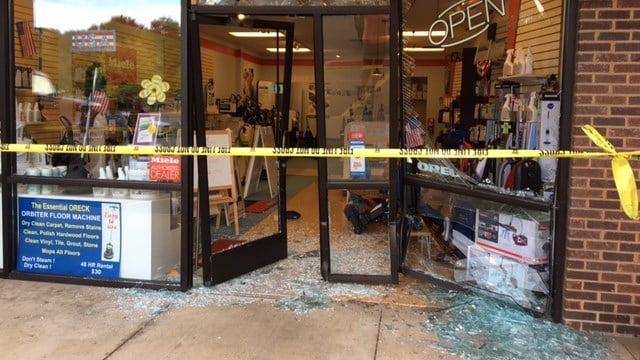 Oreck Vacuums in Asheville after car crashed into storefront. (8/29/17 FOX Carolina)