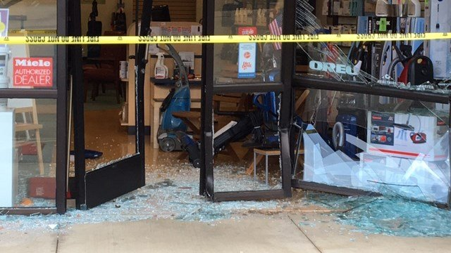 Oreck Vacuums in Asheville after car crashed into storefront. (8/29/17 FOX Carolina)
