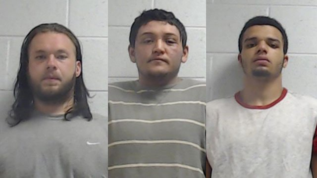 Westley Allen Broom (left), Richard Charles Mastromatteo (center), Elijah Bennett Schilbrack-Cole (right) (Source: Jackson Co. Sheriff's Office)