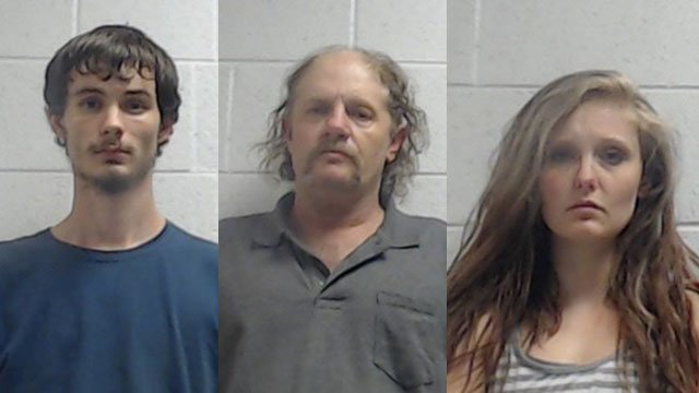 Jeremy Dewayne Morton Jr. (left), David Charles Fisher (center), Saryna Michelle Miller (right) (Source: Jackson Co. Sheriff's Office)