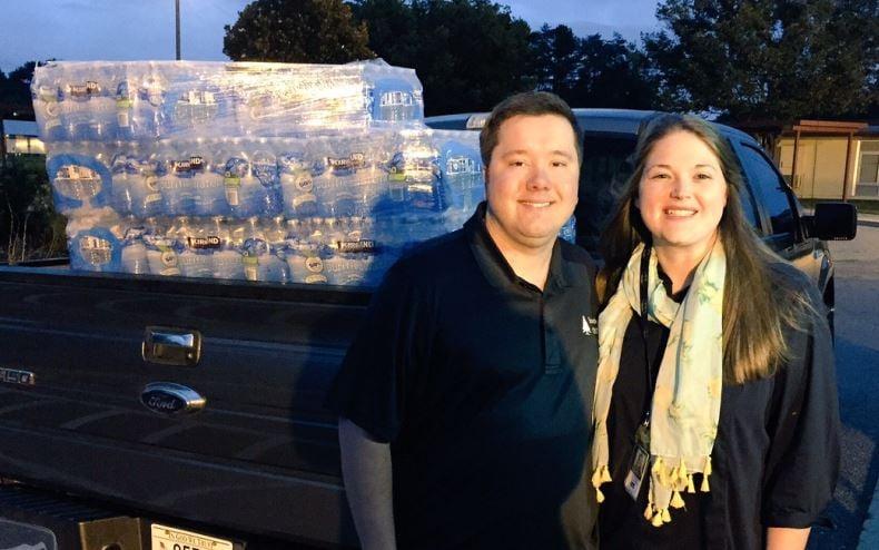 Bryan & Emmy Matthews donate 36 cases of water (FOX Carolina/ August 31, 2017)