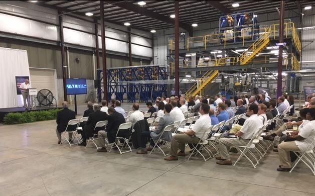 Officials speak at the Albis grand opening celebration (FOX Carolina/ August 31, 2017)
