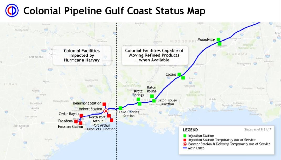 Colonial station closures (Source: Colonial Pipeline)
