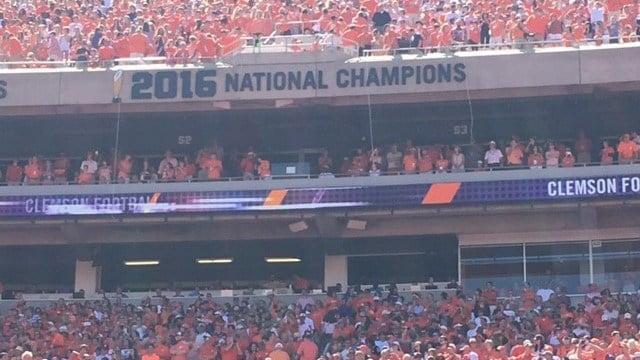 Champion signs thrown up at Clemson game. (9/2/17 FOX Carolina)