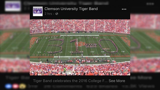 Clemson Band performance screen grad. (Credit: Tiger Band)