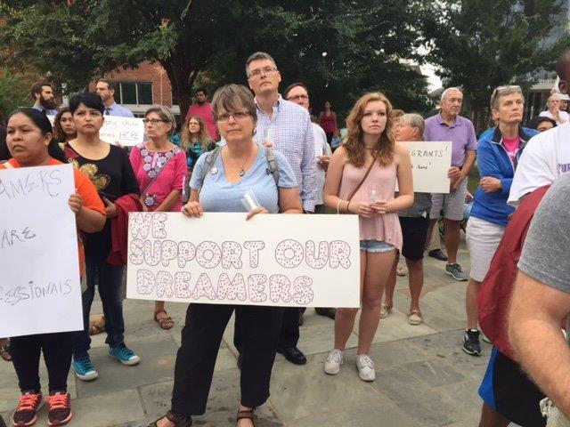 DREAMers vigil in Greenville. (9/5/17 FOX Carolina)