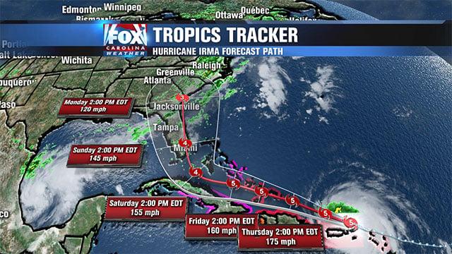 Hurricane Irma tracks toward U.S. East Coast (file/FOX Carolina)