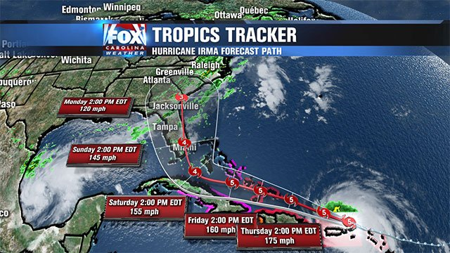 Hurricane Irma tracks toward U.S. East Coast (file/FOX Carolina)
