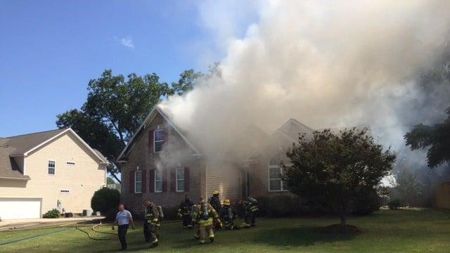 Scene of house fire in Greer. (9/9/17 FOX Carolina)