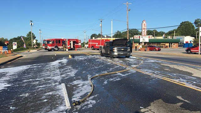 Hwy 123 shut down after large fuel leak. (Source: Easley FD)