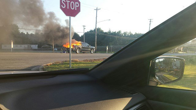 Scene of car fire on Hwy 123. (Credit: eyewitness)