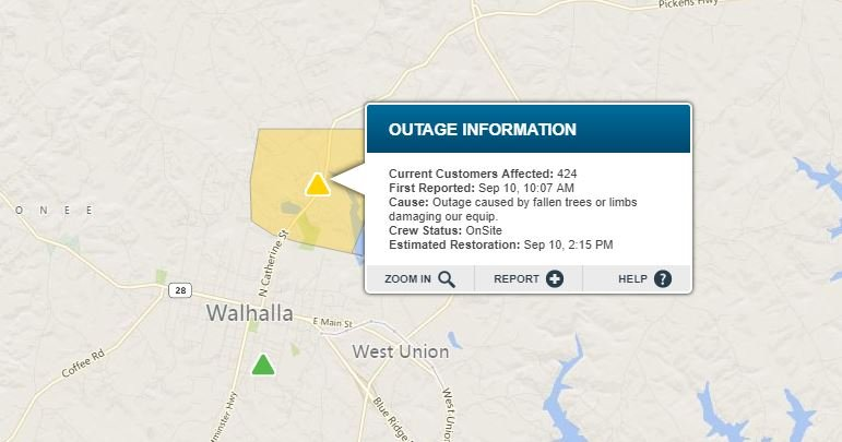 Power Outage in Walhalla. (Source: Duke Energy Outage Map)