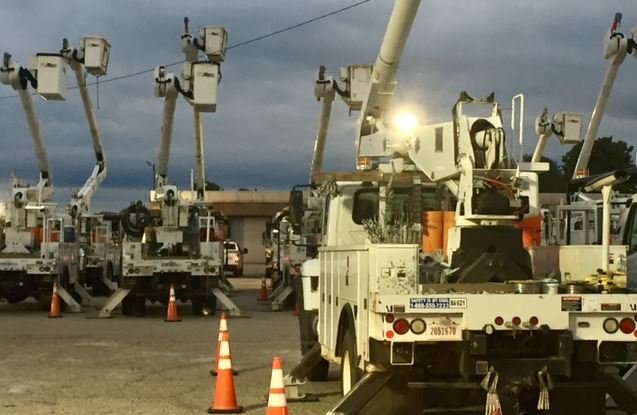 Utility trucks parked for the night in the Upstate (FOX Carolina/ Sep. 13, 2017)