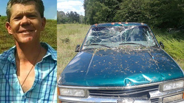 Steven Watkins and his wrecked truck (Source: Family)