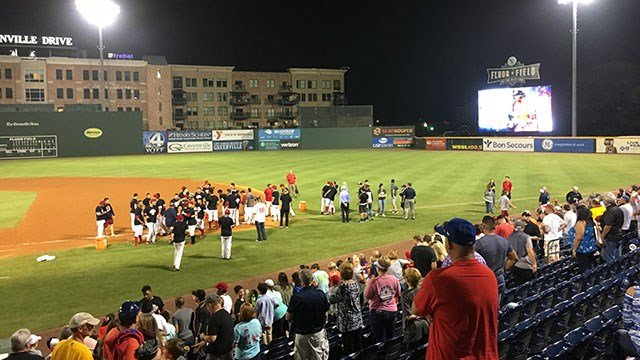 The Drive celebrates on Fluor Field after winning SAL title (Sep. 15, 2017/FOX Carolina)