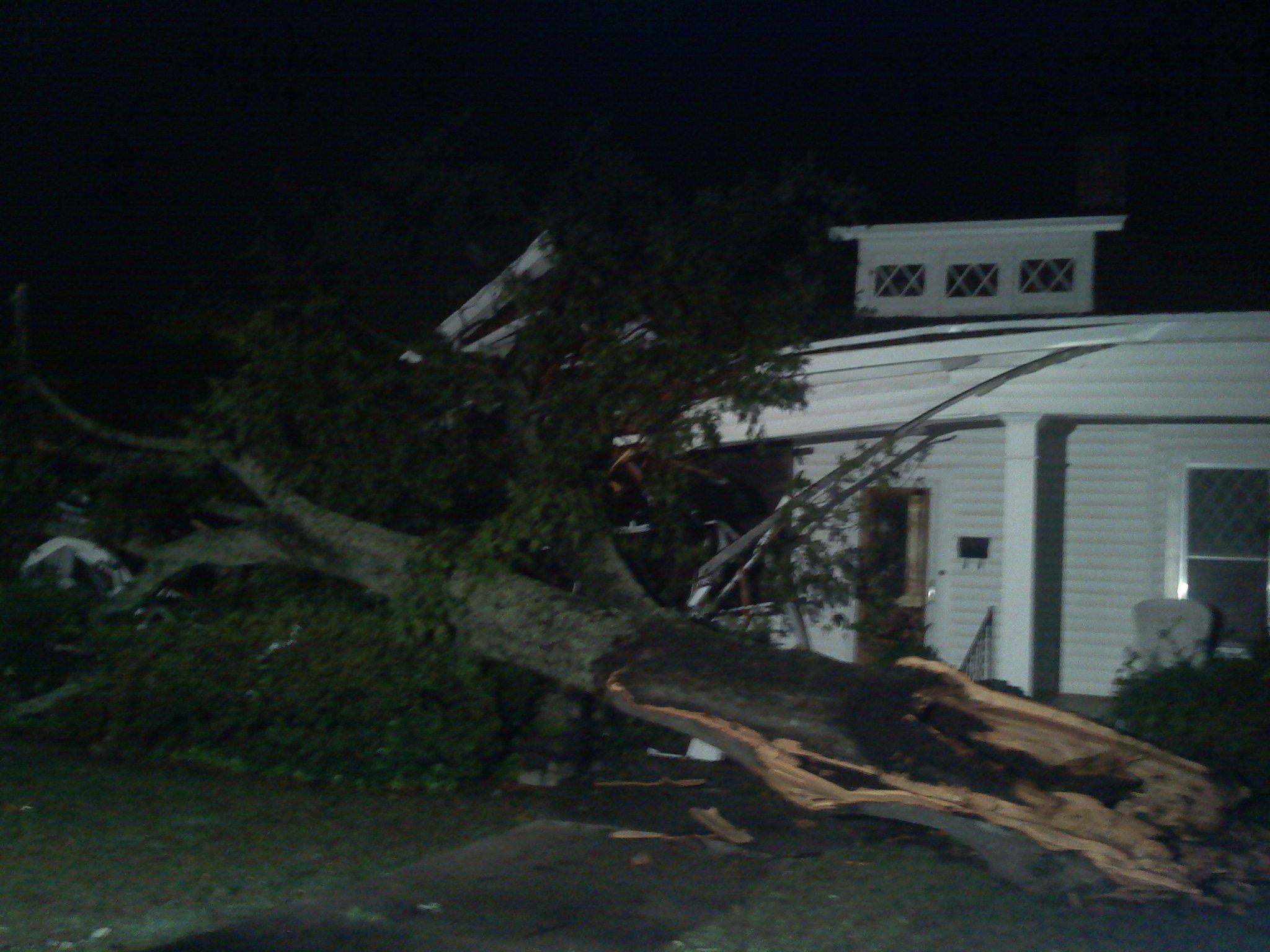 A tree fell on a house in Belton. Photo by Mark Warren/FOX Carolina.