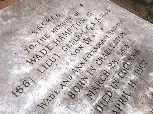 Gravestone of Confederate Gen. Wade Hampton in Columbia, S.C., at the Trinity Episcopal Cathedral (AP Photo/Meg Kinnard)