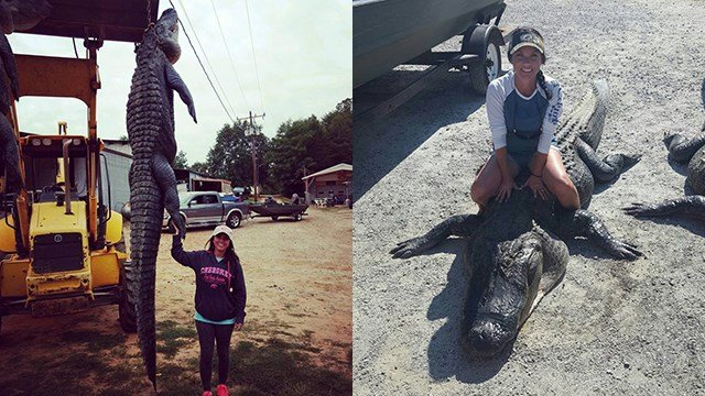 Belton woman snags huge gator in Santee. (Source: Laura Robinson Griffin)