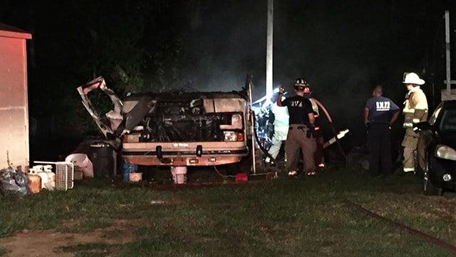 Camper fire on Geer Hwy. (9/23/17 FOX Carolina)