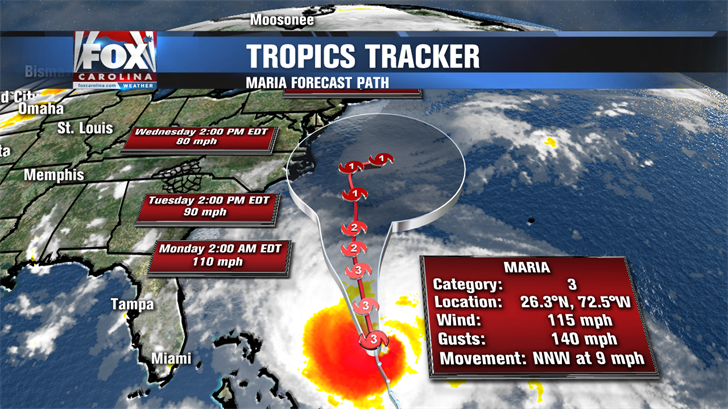 Maria downgraded to tropical storm