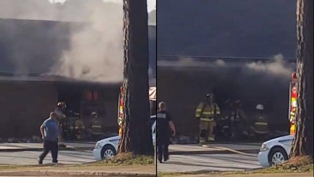 Crews battle blaze at Oconee Law Enforcement Center (Source: iWitness)