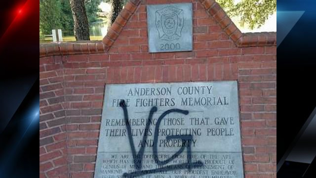 Photo of the graffiti on the monument (Source: Anderson County)