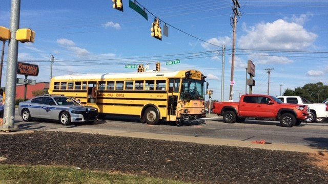 School bus struck by car in Anderson. (Source: Kyle Newton)