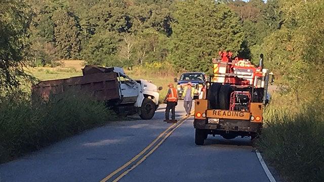 Scene of collision involving dump truck. (9/26/17 FOX Carolina)